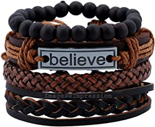 Impression Latest Natural Stone Beads and Stainless Steel Inspirational Believe Words Fashion Set of 4 Genuine Leather Mul...