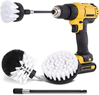 Hiware 4 Pcs Drill Brush Car Detailing Kit with Extend Attachment,Soft Bristle Power Scrubber Brush Set for Cleaning Car, ...