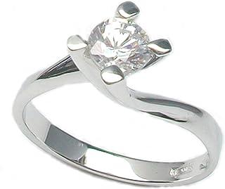 Aurum - Anello solitario 18 kt. diamante 0,30 ct.- oro bianco, misura 8
