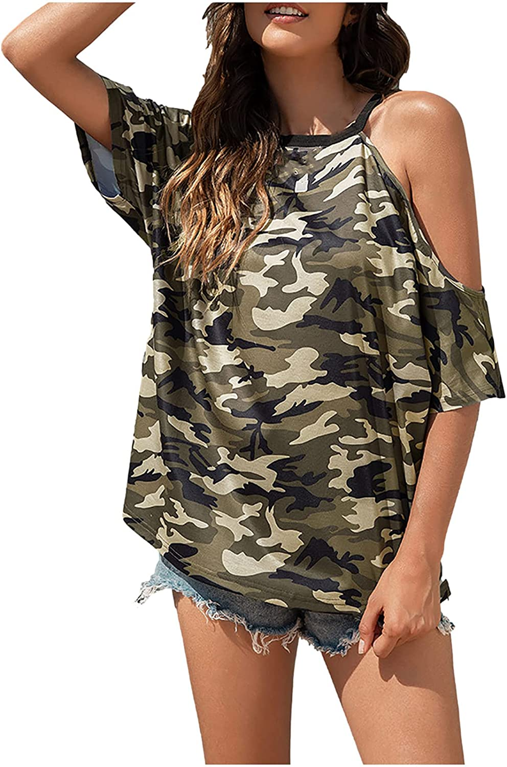 Womens Tops and Blouses,Summer Women's Fashion Casual Camouf Printing O-Neck Short Sleeve T-Shirt Tops