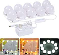 LED Vanity Mirror Lights Kit – MRah Upgraded 2 Color Lighting Modes Makeup Mirror Lighting Fixture with 10 Dimmable Bulbs for Vanity Table Set, Bathroom Mirror (Mirror Not Included)