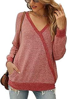 OrientalPort, maglietta sexy da donna con scollo a V, a maniche lunghe, con motivo patchwork e tasche