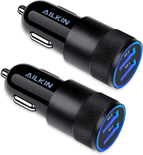 Car Charger, [2Pack] 3.4a Fast Charge Dual Port USB Cargador Carro Lighter Adapter for iPhone X XR XS Max 8 Plus 7s 6...