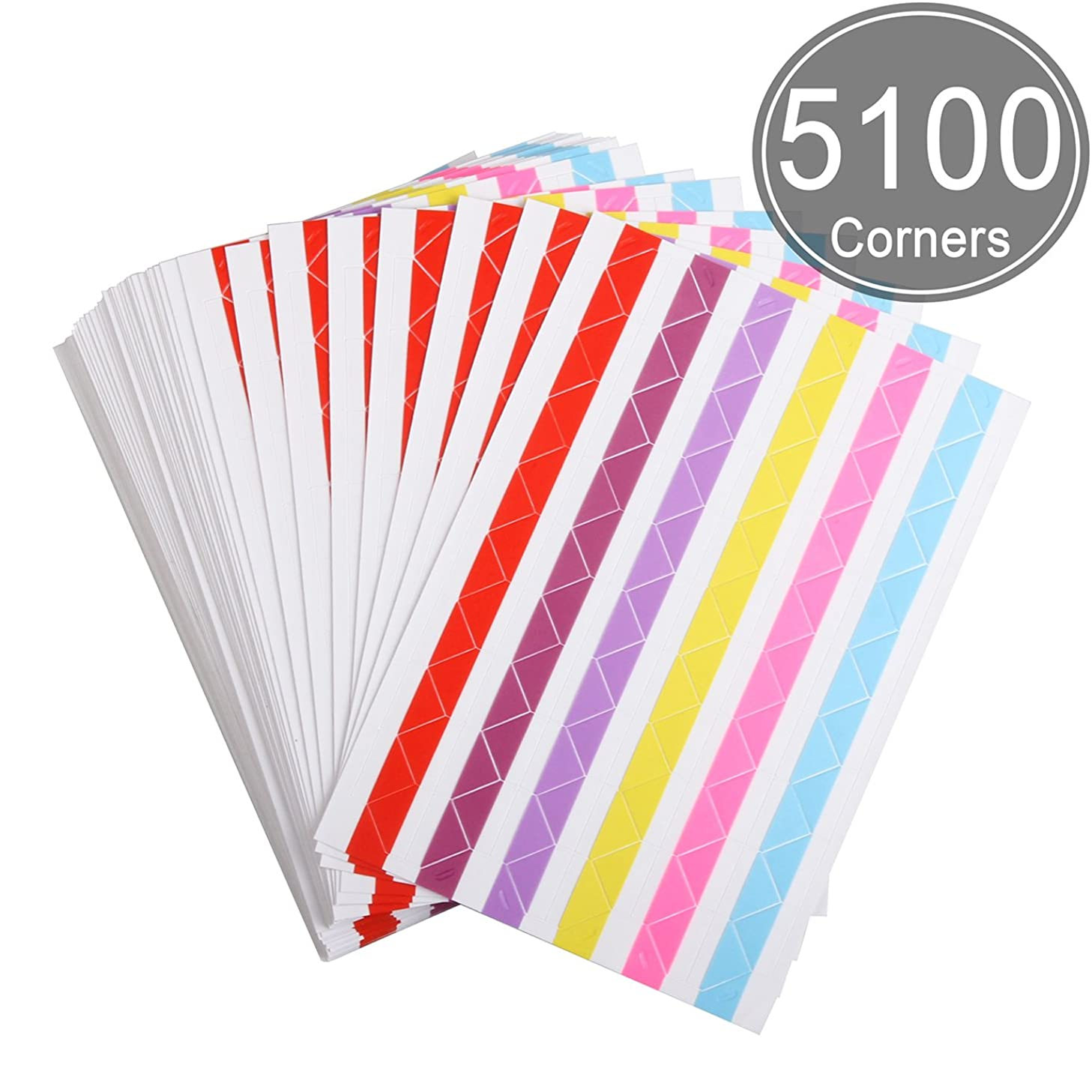 ADVcer 50 Sheets Self Adhesive Photo Corners - Hold 1275 Photos - 6 Colors 5100 pcs Photo Mounting Corner Stickers for Polaroid, Instax Foto of DIY Picture Scrapbook and Recollections Photo Album