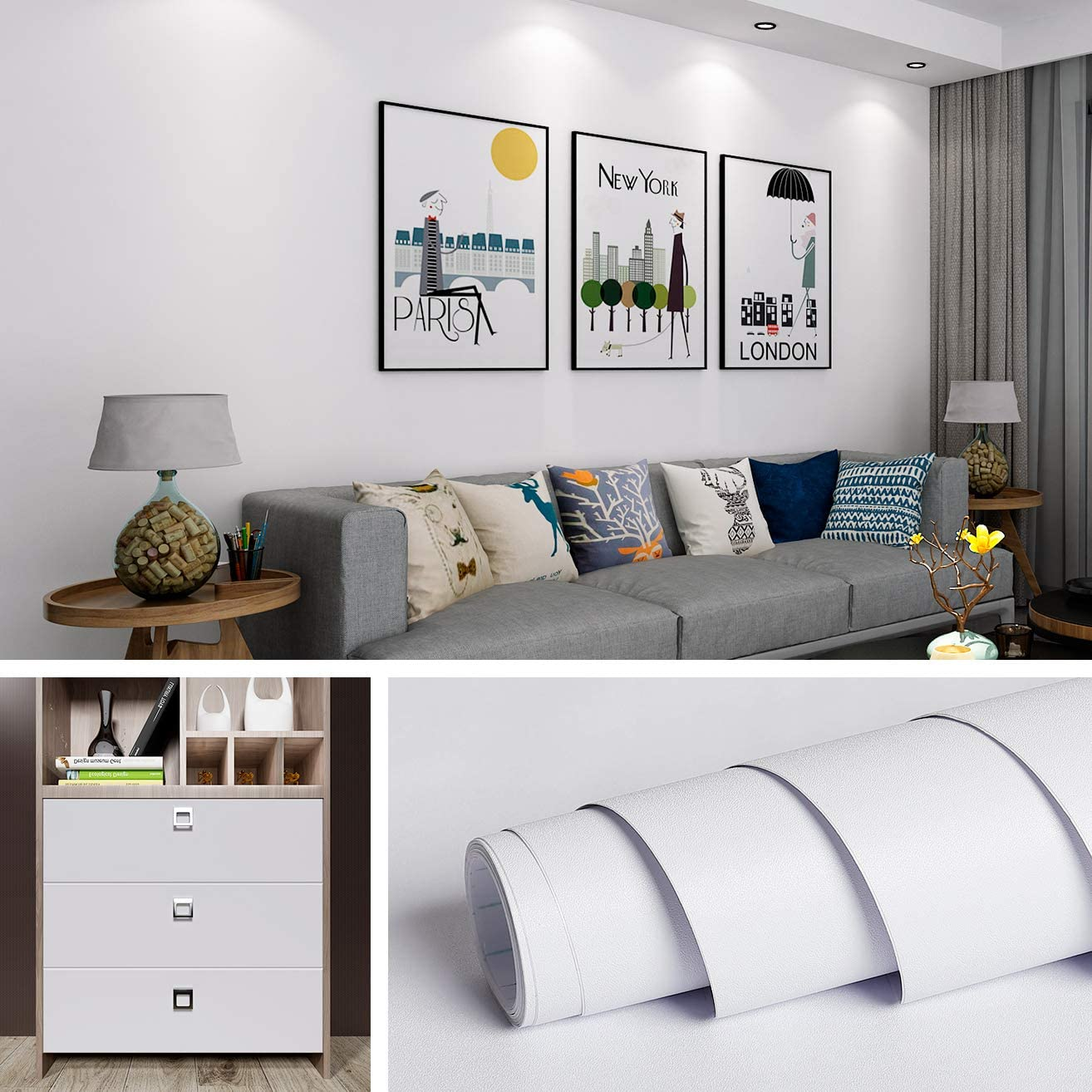 Spasm price Livelynine 15.8x394 Inch Removable White New Orleans Mall Wall Bedroom for Paper
