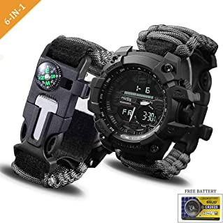 Survival Bracelet Watch, Digital Emergency Survival Watch Waterproof with Paracord/Whistle/Fire Starter/Scraper/Compass and Survival Gear for Men and Women