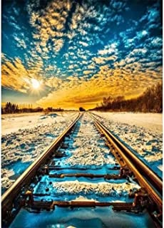 Kaliosy DIY 5D Diamond Painting by Number Kits for Adults Winter Scene Railroad Tracks, Paint with Diamonds Arts Full Drill for Home Wall Decor 30x40cm