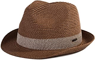 Siggi Panama Straw Summer Fedora Sun Hat Beach Trilby Short Brim Vintage for Men 56-59cm
