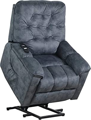 Merax Power Lift Recliner Chair Lazy Sofa for Elderly, Heavy-Duty Fuction with Remote Control, Office or Living Room, Bluish Grey
