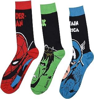 Marvel Mens 3 Pack Crew Socks Cotton Elasticated Comfort Marvel Mens 7-11