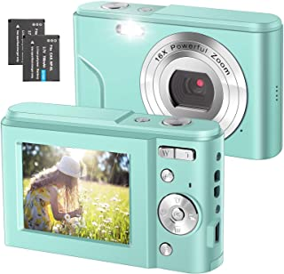 デジタルカメラFHD 1080P 3600万画質ミニデジカメ、ビデオ自撮り機能付き、2.4インチ液晶スクリン、16倍デジタルズーム、子供、初心者、青少年に適用、日本語ガイドブックが備え付けられます