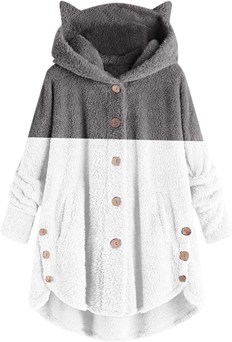 Smileyth Women Winter Fuzzy 100% quality New life warranty Warm Buttons Coat Pocket Color Block
