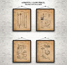 Drums & Cymbals Patent Prints 1909-1964 - Awesome Set of 4 - A Great Gift for Drummers, Band Members or A Practice Room Wall - Art Wall Decor