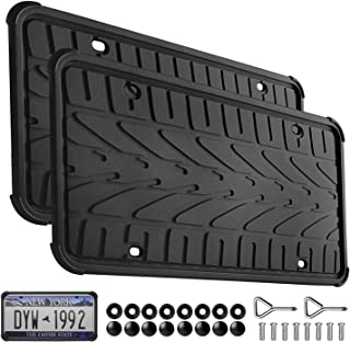 Seven Sparta 2 Pack License Plate Frame Silicone with Screws Universal American License Plate Holder Rust-Proof & Rattle-Proof (Black)