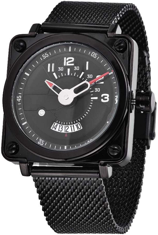 Gmkjh Reloj de Cuarzo, Caja Cuadrada Unisex Correa de Acero Inoxidable 3ATM Calendario Impermeable Reloj de Cuarzo Reloj de Regalo