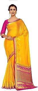 ساري كريب Kanchipuram ذهبي للنساء مع قطعة بلوزة (4250-2256-2D-Gld-Rni, ذهبي)