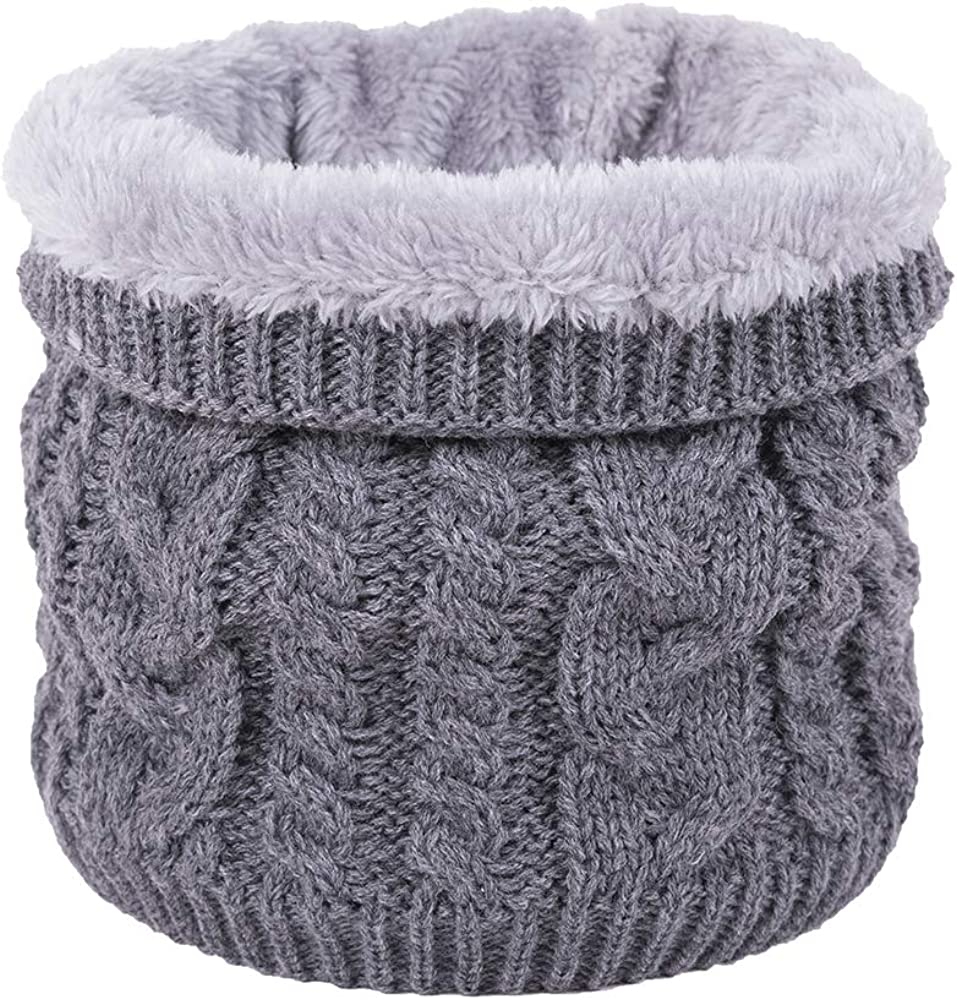 JFAN Winter Knitted Neck Warmer Skiing Scarf With Double-Layer Fleece Lined