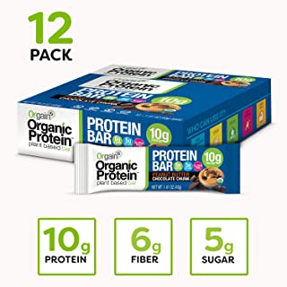 Orgain Organic Plant Based Protein Bar, Peanut Butter Chocolate Chunk - Vegan, Gluten Free, Non Dairy, Soy Free, Lactose Free, Kosher, Non-GMO, 1.41 Ounce, 12 Count