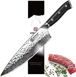 Japanese Chef Knife/Gyuto-8 Inch Kitchen Knife-67 Layers Japanese Damascus Steel-HRC 60 Japanese AUS-10 Knife Core-Hammered Finish-G10 Ergonomic Handle-All Purpose Cutter-Keemake