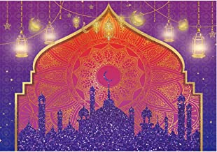 Allenjoy Arabian Nights Magic Genie Backdrop Pruple Moroccan Birthday Party Decor Banner Gold Glitter Indian Bollywood Baby Shower Weeding Sweet 16 7x5ft Photography Background Photobooth Props