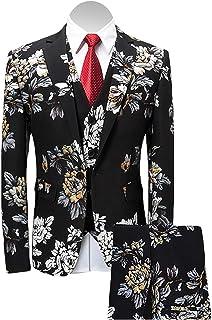 Men's 3-Piece Suit Notched Lapel Floral Print One Button Blazer Vest Pants Sets