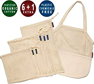 ecofreaco Reusable Organic Cotton Grocery Bags Set of 7 (6 Mesh Produce Bags with Drawstrings + 1 Half Mesh Shopping Tote Bag) Zero Waste Eco-Friendly Storage Solution | Natural & Enforced Design