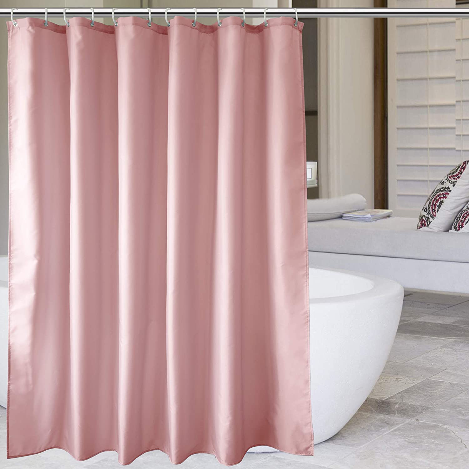 """EurCross Pink Shower Curtains Mould Proof Resistant Washable, Quick Dry Water-resistant Fabric Bathroom Shower Curtain 180 x 180cm Drop with 12 Plastic Hooks 72""""W x 72""""L Pink"""
