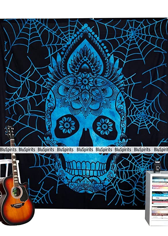 BluSpirits Queen Size Skull Tapestry (Blue)