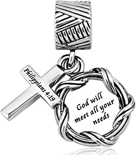 Charmed Craft Religious Charms Cross Charms Prayer God Charms for Charm Bracelets