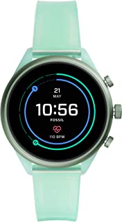 Fossil Sport (41mm, Mint Green Transparent) Women Metal and Silicone Touchscreen Smartwatch with AMOLED Screen, Heart Rate...