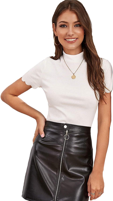 SweatyRocks Women's Mock Neck Ribbed Knit Scallop Short Sleeve T Shirt Tops
