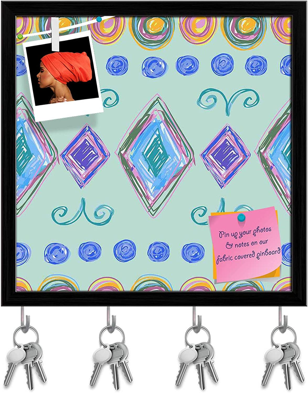 Artzfolio Hand Drawn Design D5 Key Holder Hooks   Notice Pin Board   Black Frame 20 X 20Inch