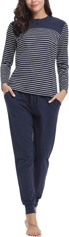 Aibrou Pijamas Mujer Invierno Algod/ón Mangas Larga Conjunto Camiseta y Pantalones Largo Ropa de Casa 2 Piezas