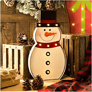 """Glitzhome Christmas Marquee LED Lighted Snowman Xmas Holiday Décor Battery Operated 20"""" H"""