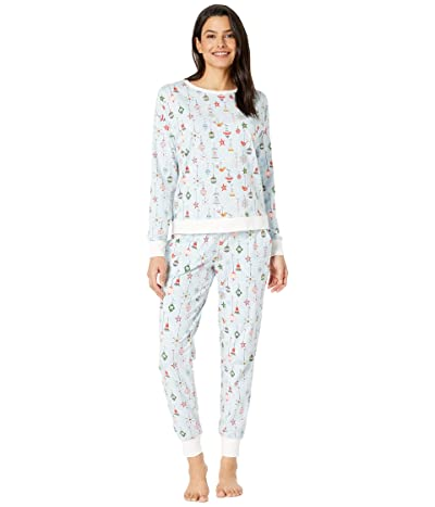 BedHead Pajamas Long Sleeve Pullover Jogger Pajama Set (Deck The Halls/Blue) Women