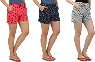 Peach Blossom Women's Printed Casual Shorts Combo of 3