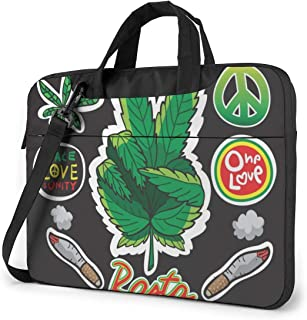 """Red, Yellow and Green and Weed Reggae Style Laptop Bag Protective Case Computer Messenger Briefcase Women Men 13"""""""