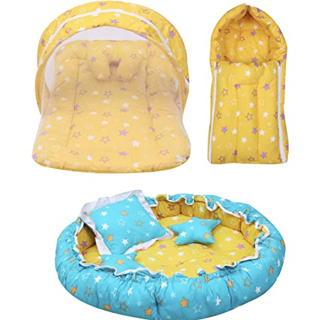 Infantbond Baby Sleeping Essential Reversible Nest | Mattress with Net | Carry Bag(0-6 Months) (Yellow)