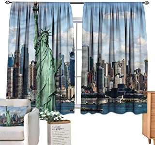 WinfreyDecor New York Simple Curtain Statue of Lberty NYC for Living, Dining, Bedroom (Pair) 63