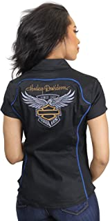 Womens 115th Anniversary Zip Front Short Sleeve Woven Shirt 99047-18VW