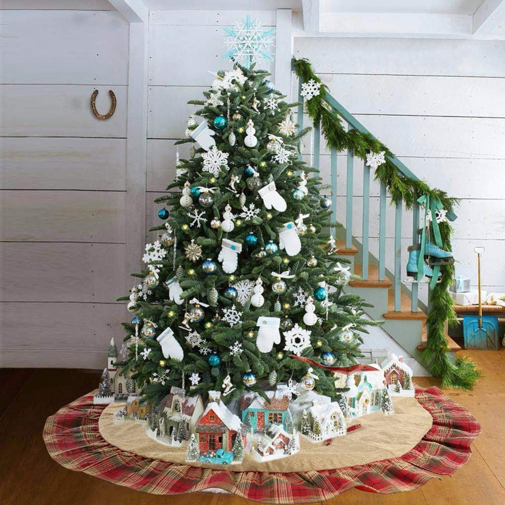 WARMWORD Tela Escocesa navideña Árbol de Navidad Falda Árbol de Navidad Adorno Inferior 120cm Diseño para Fiestas de Año Nuevo y Feliz Navidad Decoraciones para el hogar: Amazon.es: Hogar