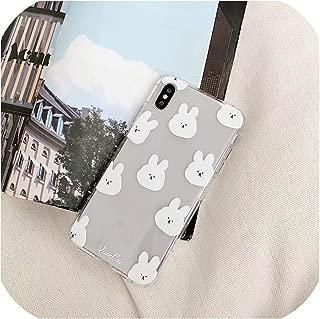 かわいい漫画動物面白いウサギクマ電話ケースiphone Xs最大Xr X 6 6 s 7 8プラスカップルクリアソフトTpuバックカバー、iphone 7 8 1