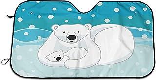Bernice Winifred Polar Bear Mom and Baby - Parasol para Parabrisas para Coche, para Coche, camión, SUV, Bloques, Rayos UV, Protector de Visera, Mantiene su vehículo Fresco (51,2 x 27,5 Pulgadas)