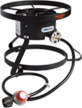 Leaderware Single Burner Camping Cooker, Iron Camping Stove with Stand, Outdoor High-Pressure Gas/Propane Burner with Round Covers, High-Pressure Burner with Black Hose