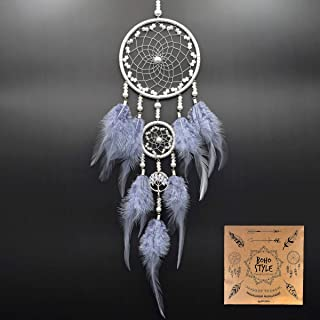 Littlear Dream Catcher Handmade Wall Hanging Home Decor Dream Catcher with Feathers for Bedroom Dia 4.4