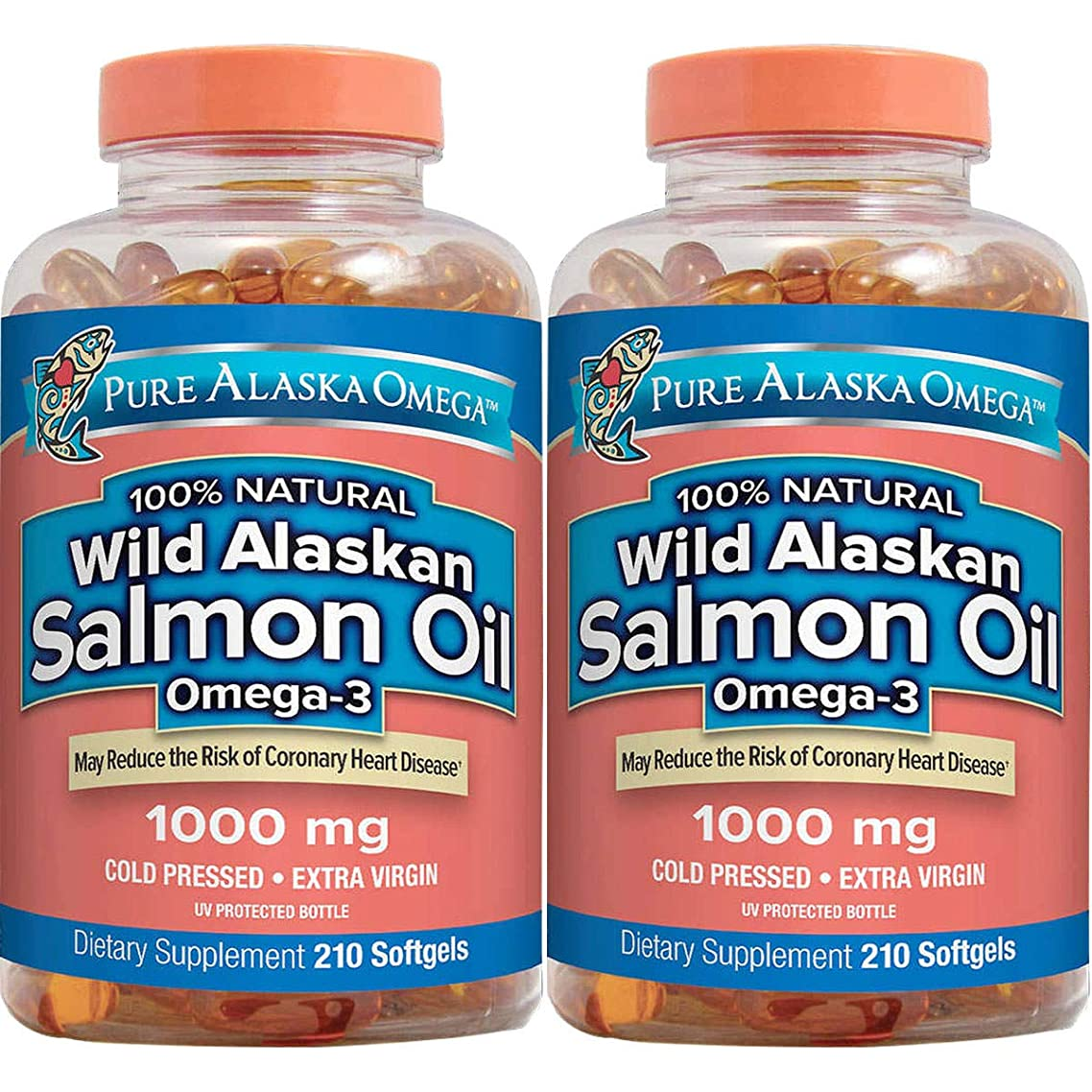 Pure Alaska Omega-3 Wild Alaskan Salmon Oil 1000mg Softgels 2 Packs (210-Count Each)