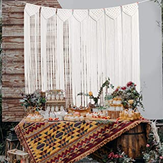 O-Heart Macrame Wall Hanging Curtain, Boho Chic Curtains Wedding Backdrop Woven Wall Tapestry for Bedroom Living Room Kitchen Nursery Wall Decor 41
