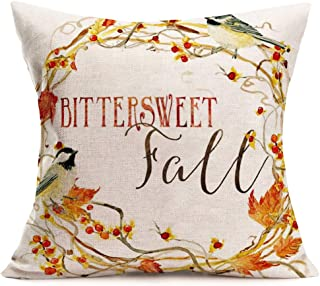 Fukeen Autumn Harvest Quote Pillow Cover Black Background with MapleLeaf Pumpkin Pillow Case Vintage Farmhouse Decorative...