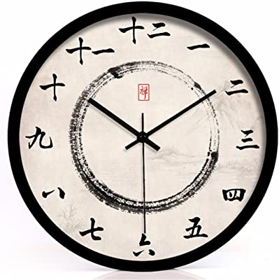 Imoerjia Wall Clock Chinese Wellness Clocks Ink On Living Room Wall Clock Mute Quartz Clock 12