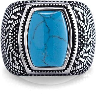 555 مجوهرات الفولاذ المقاوم للصدأ خمر سلتيك سيجنيت خاتم حجر فيروزي للرجال